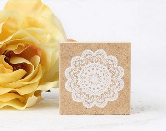 Wooden Rubber Stamp - White Lace 01 - 1 pcs