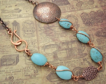 Copper Disc and Magnesite Beaded Necklace