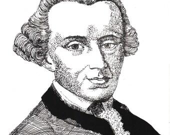 Illustrated Immanuel Kant Screen Print Portrait T Shirt