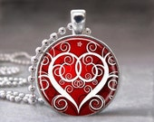 Valentine's Day Red and White Swirly Heart, Altered Art Glass Dome Photo Pendant Necklace, no. 076-4