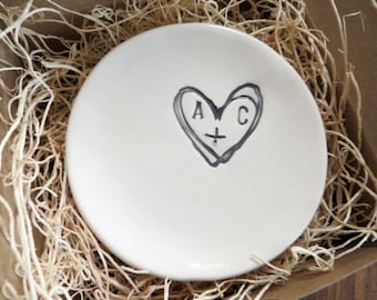 wedding ring dish,  ring holder, engagement gift, You Plus Me,  Black and White, Made to Order