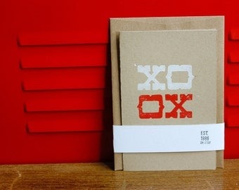 XO, Linoleum Block Card with Envelope