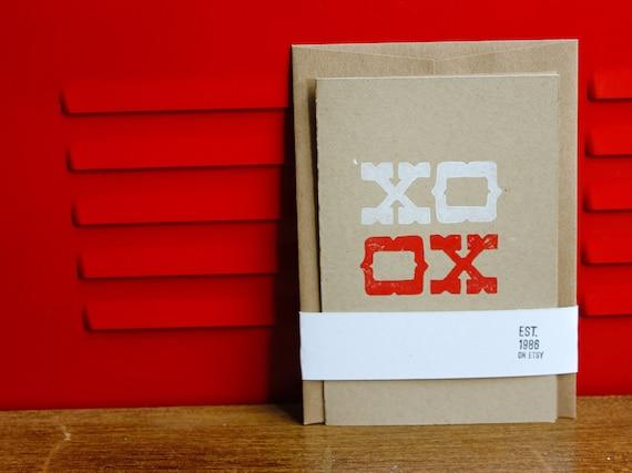 XO, Linoleum Block Card with Envelope