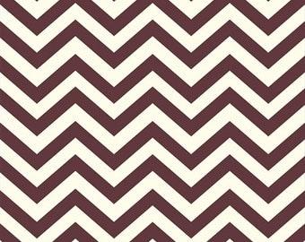 Organic Brown Chevron Fabric - Birch Mod Basics 1/2 Yard