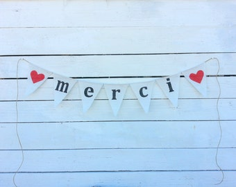 Merci burlap banner with red hearts, lowercase