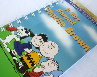 Upcycled Notebook/Recycled Notebook from A Boy Named Charlie Brown VHS box, 50 sheets/100 pages