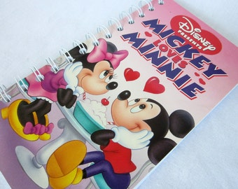 Upcycled Notebook/Recycled Notebook from a Disney Presents: Mickey Loves Minnie VHS box, 50 sheets/100 pages