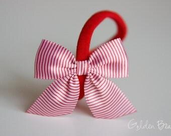 SALE - Satin Bow Headband - Satin Red Striped Side Bow Handmade Baby to Adult Headband