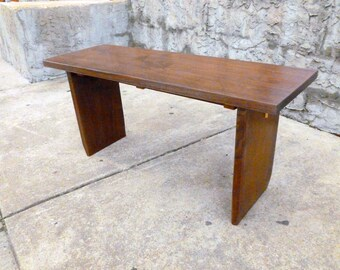 Custom Gallery Entry Bench Coffee Table Walnut Hand Made Mid Century Modern Studio Style