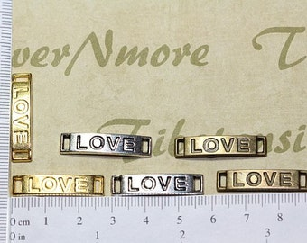12 pcs per pack 26x6mm Love message Link Connector Lead free Pewter