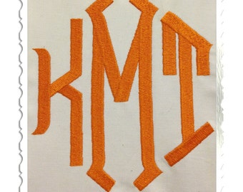 Large Point 3 Letter Monogram Machine Embroidery Font Alphabet - 3 Sizes