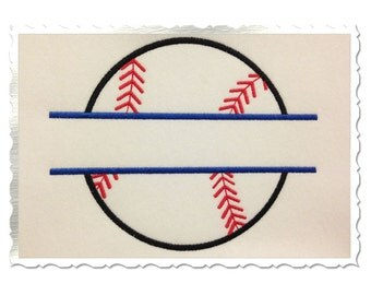 Split Baseball or Softball Applique Machine Embroidery Design - 4 Sizes