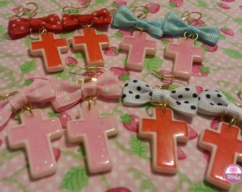 """On Sale!! Earring """"Cross-white"""" (Several colors)"""