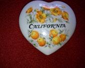 Ceramic trinket box with California logo and poppies