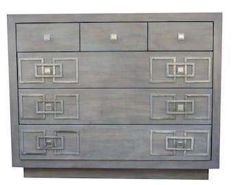 Mid Century Modern Bedroom Dresser,  Custom Metal Hardware