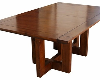 Metro Modern Extension Trestle Dining Table Handmade In our Los Angeles Custom Wood Shop