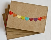 Wedding Thank You Cards, Kraft Paper Stationery, Rainbow Stationary, Colorful Notecards, Bridal Shower Notes, Gifts Under 10, Heart Bunting