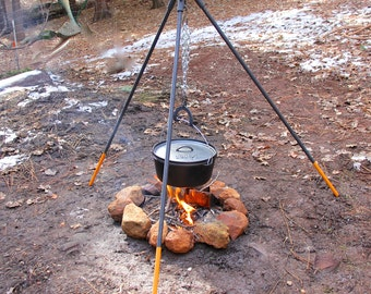 Sturdy Tripod Campfire Stand, for use over a wood fire, cook like cowboys on the range.  MADE to ORDER