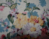 Linen Polyester Fabric Yardage Natural with Mulitcolor Flowers