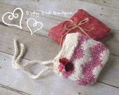 SALE Pink & White Chevron Pixie Bonnet - NB Sized - Great Photography Prop