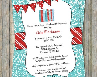 Bring a Book Baby Shower Invite with banner, Baby shower invitation, printable, digital file
