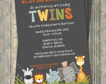 jungle animal baby shower invitations, twin shower, Digital, Printable file gender neutral