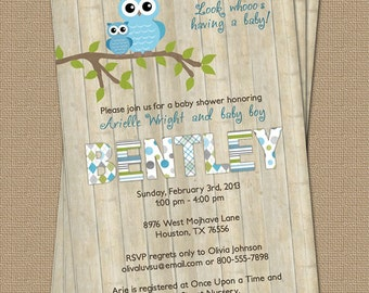 Owl baby boy shower invitation with wood background, blue, digital, printable file