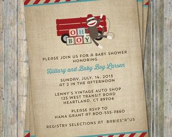 vintage toys baby shower invitation, wooden blocks, digital, printable file
