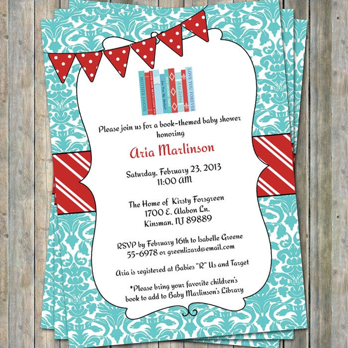 Bring a Book Baby Shower Invite with banner Baby shower