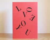 LOVE YOU typographic card / Valentines card. Didot typeface