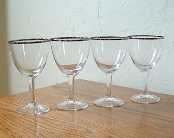 Vintage Silver Rim Cordial Glasses Set of 4 Platinum Rim Liqueur Mad Men Mid Century Stemware Barware Aperitif