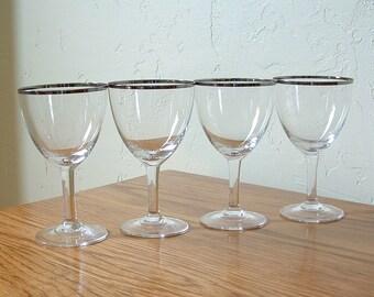 Vintage Silver Rim Glasses Set of 4 Wine Platinum Cordial Liqueur Mad Men Aperitif