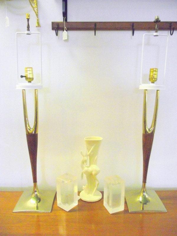 2 Mid Century Lamps Laurel Wishbone Brass Amp Walnut Danish