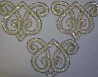 White Iris Applique Beads and Sequins Set of 3 Pieces