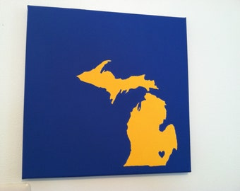 "University of Michigan Love Painting - 12x12"" canvas - hand painted"
