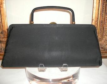 Vintage 1960's Bobbie Jerome Black Fabric Handbag with Small mirror and Comb