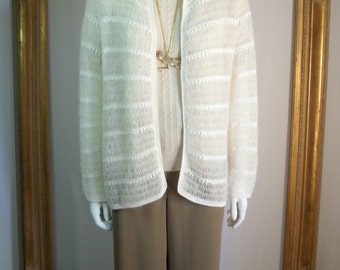 CLEARANCE Vintage 1970's Crocheted Winter White Mohair Blend Sweater - Size Small