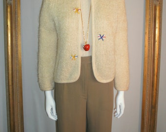CLEARANCE Vintage 1960's Bonny Lou Cream Colored Wool Cardigan Sweater - Size Small