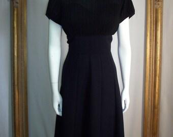 Vintage 1960's Black Dress - Size 18