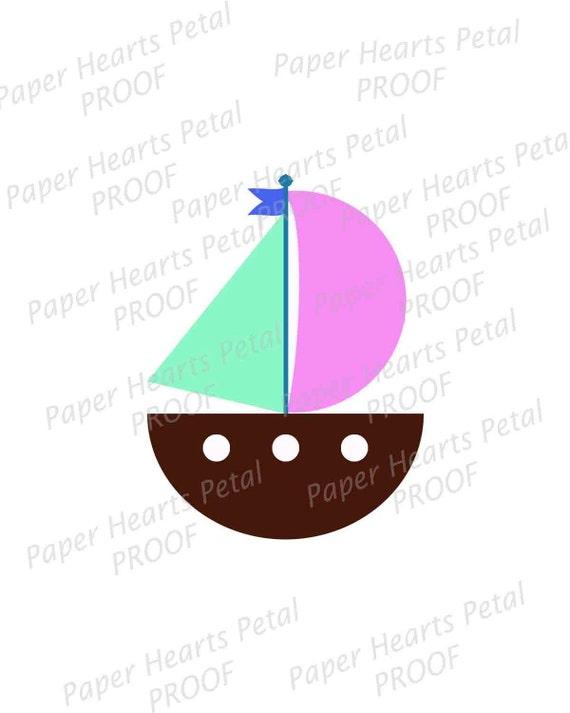 Digital Clip Art - Nautical Theme - Sail Boat - Download JPG & PNG Formats Upon Purchase