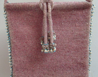 Vintage 1920s Pink Glass Beaded Evening Bag w/ Seed Pearl and Turquoise Beaded Tassels - Beaded - Glass Beads - Wearable - Lined
