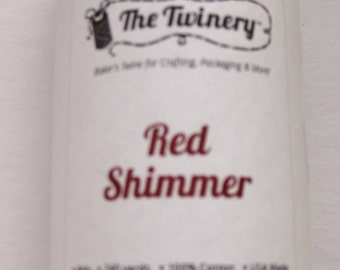 10 Yards of RED SHIMMER - Light Cream and Shiny Red Bakers Twine