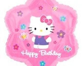 Hello Kitty XL Foil Mylar Pink Flower Balloon and Handmade Tissue Tassel and One Strand Baker's Twine