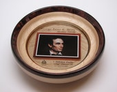 Uniquely Handcrafted Wooden Platter with Digital Print of ABRAHAM LINCOLN in Hard Maple Wood & Inlay