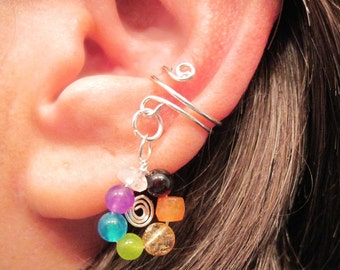"Non Pierced Chakra ""Wheel of Infinity"" Ear Cuff Cartilage Gemstone Chakra Balancing Sterling Silver"