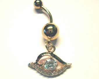 Evil Eye Navel Belly Button Ring Clear Crystal Rhinestones Barbell Naval
