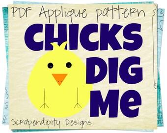 Easter Applique Template - Boys Applique Pattern / Chicks Dig Me Shirt / PDF Easter Shirt / Baby Clothes / Kids Boys Clothing Tshirt AP160-D