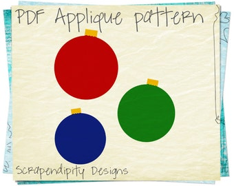 Ornament Applique Template - Christmas Applique Pattern Quilt / Christmas Iron on Transfer / Kids Boys Shirt / Baby Clothing Pattern AP121-D