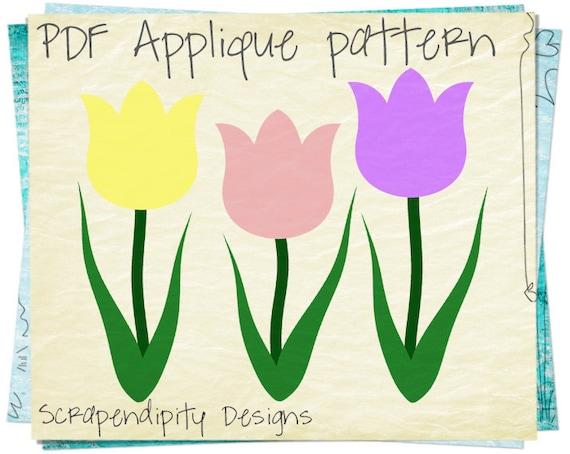 Tulips Applique Pattern - Spring Applique Template / Garden Quilt Pattern / Toddler Flower Shirt / Womens Garden Tshirt / Printable AP200-D