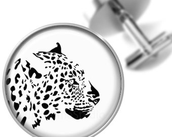 Leopard Cufflinks Animal Cuff Links Black White for Groomsmen Wedding Party Fathers Dads Men